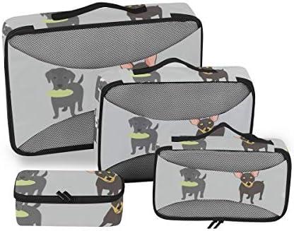 トラベル ポーチ 旅行用 収納ケース 4点セット トラベルポーチセット アレンジケース スーツケース整理 アニマル柄 犬種 仲間 収納ポーチ 大容量 軽量 衣類 トイレタリーバッグ インナーバッグ
