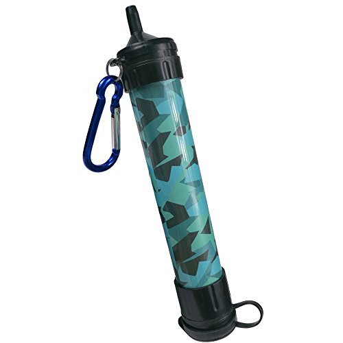 Light Water Purifier (J.B.W Emergency Camping Water Filter Straw Portable Purifier - Chemical Free, BPA Free & Lightweight. Filtration System removes 99.9% bacteria & filter to 0.01 Micron - Camouflage Color)