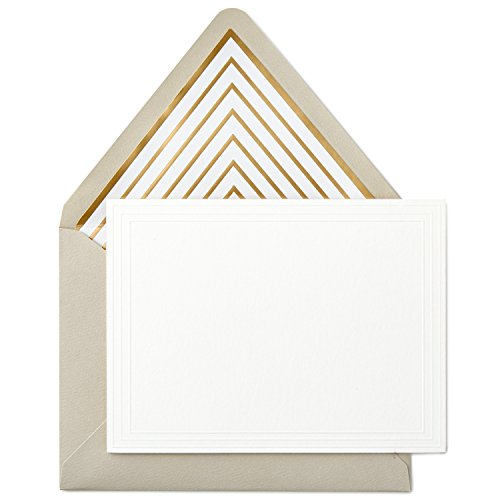 Hallmark Signature Gold Blank Cards, Embossed Border (10 Cards with Envelopes) (Embossed Flat Card)