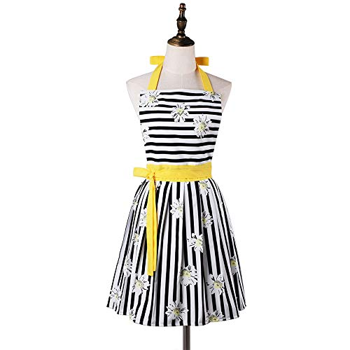 (Vacoco Fashion Vintage Black Striped Yellow Adjustable Cotton Apron for Women Lady Plus Kitchen Home with Long Ties&Pockets)