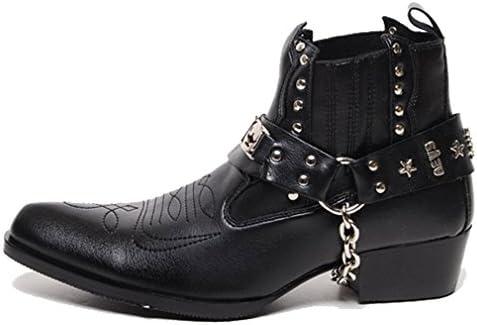 Epicsnob Mens Shoes Korea Western Cowboy Stud buckle Chain Ankle Boots work