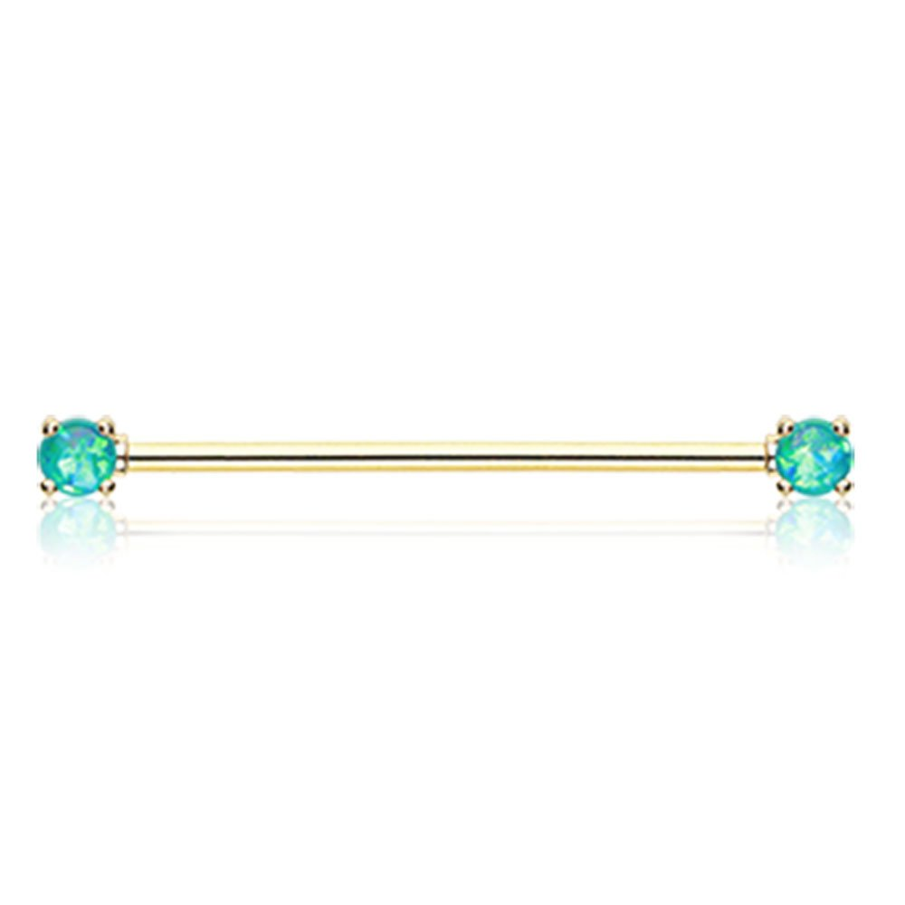 Sold Individually Inspiration Dezigns 14G Teal Synthetic Opal Sparkle Prong Golden Industrial Barbell