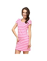 Nightgown For Women Summer Cotton Stripes Night Dress Plus Size Nightgown