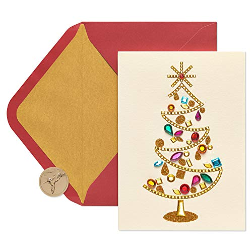 Tree Boxed Christmas Cards - Papyrus Gem Christmas Tree Christmas Cards Boxed with Gold Foil-Lined Red Envelopes, 8-Count