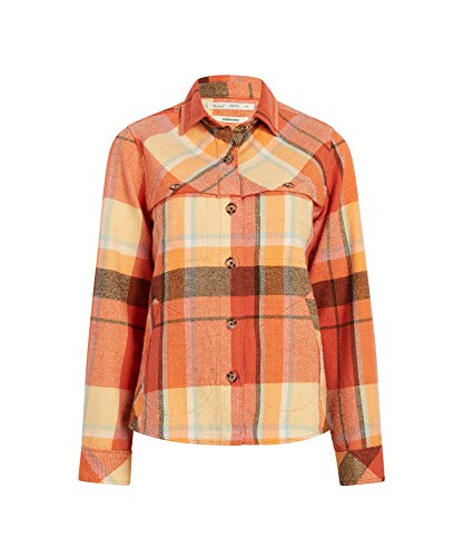 (Woolrich Women's Eco Rich Oxbow Bend Flannel Shirt Jac, Spiced Cider,)