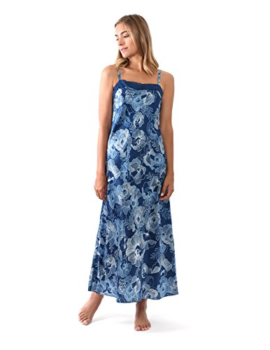 JONES NEW YORK Women's Floral Satin Long Chemise, Blue Sleeveless Nightgown