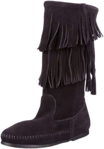 Minnetonka Women's Calf Hi 2-Layer Fringe Boot,Black,8 M US - Hi Fringe Boot