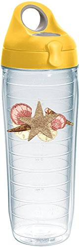 Tervis 1232533 Sea Shells & Starfish Tumbler with Emblem and Yellow Lid 24oz Water Bottle, -
