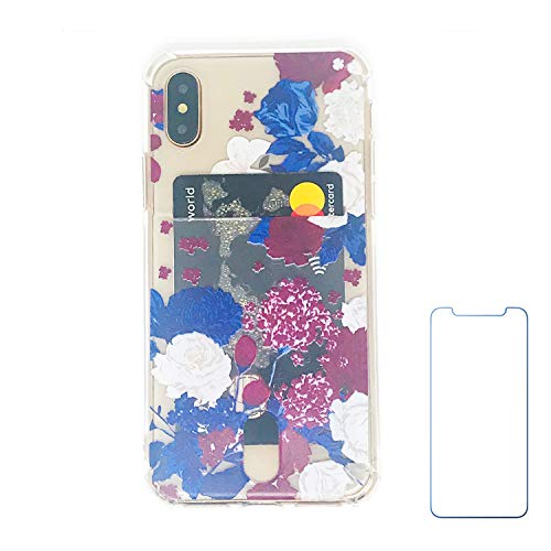 Oddss Case Compatible for iPhone Xs/X 10(5.8 inch) with Card Holder Slot Ultra-Slim Thin Soft TPU Clear Wallet Cover Compatible for iPhone XS/X/10 with Screen Protector (Blue Red Floral)