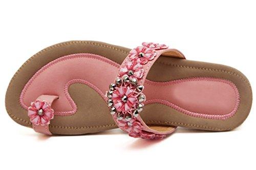 Anillos para el pie Slippers Mujer de BIGTREE Verano Vacaciones Playa Con brillo Flores Bead Plano Sandalias Rosa