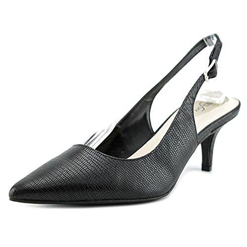 Alfani Womens Slingback - Alfani Womens Babbsy2 Leather Pointed Toe Slingback Classic, Black, Size 7.5