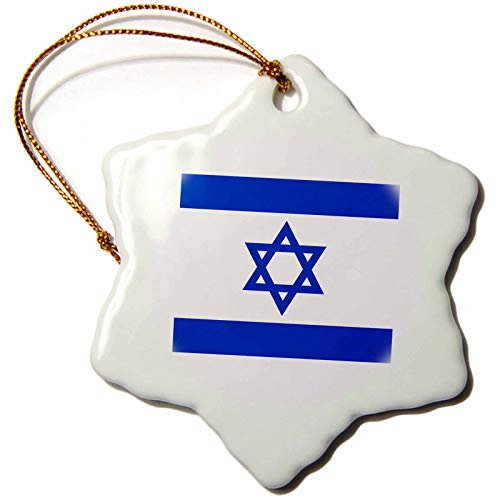 3dRose InspirationzStore Flags - Israeli flag - Blue and white with magen david star - Jewish state of Israel - Judaism - Zionism - 3 inch Snowflake Porcelain Ornament (orn_151420_1)
