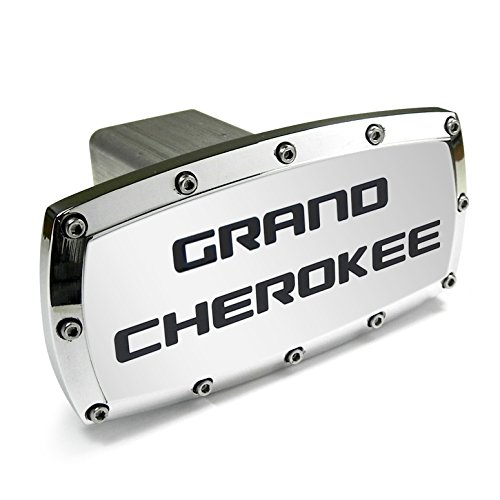 - Jeep Grand Cherokee Engraved Billet Aluminum Chrome Tow Hitch Cover