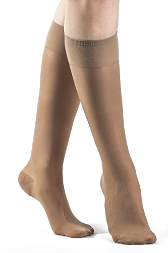 SIGVARIS Women's SHEER FASHION 120 Closed Toe Calf Compression Hose 15-20mmHg