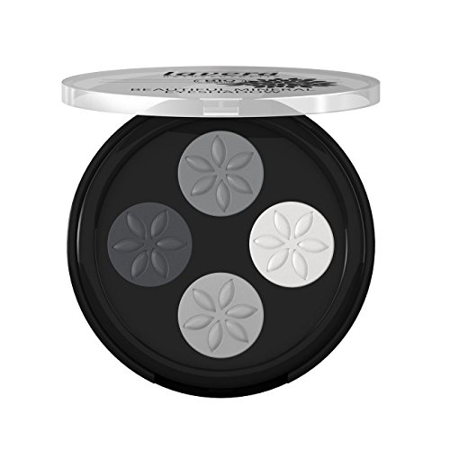 Lavera Beautiful Eyeshadow - Quattro ∙ Color Smokey Grey ∙  Long Lasting, Four Talc-Free Matte Shades, Crease-Resistant - Natural & Innovative Eye Make up - Organic Skin Care