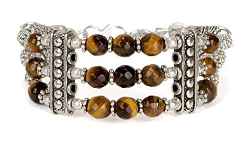SPUNKYsoul Tiger's Eye Stone Crystal Adjustable Silver Strand Bracelet for Women (Tiger's Eye)