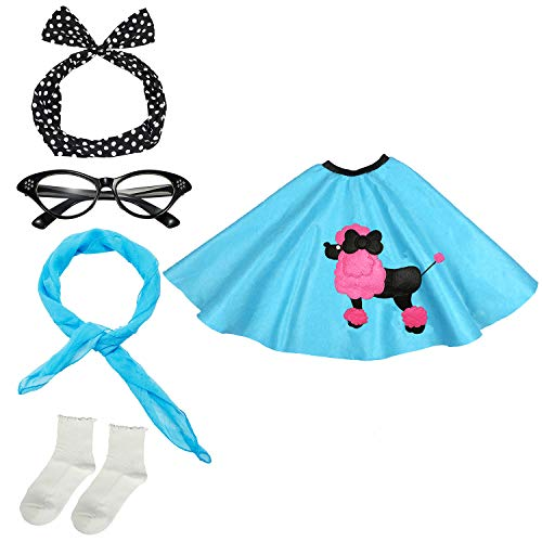 - 50s Womens Costume Accessory Set - Poodle Skirt, Bandana Tie Headband,Chiffon Scarf, Cat Eye Glasses,Bobby Socks,Blue