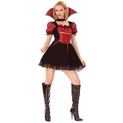 Momo&Ayat Fashions Ladies Halloween Vampire Mistress Costume Onesize US 4-10 (Onesize (US 4-10), Black) -