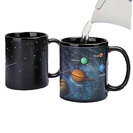 Taza de cambio de color, creativo estrellado solar sistema de cerámica taza de café taza