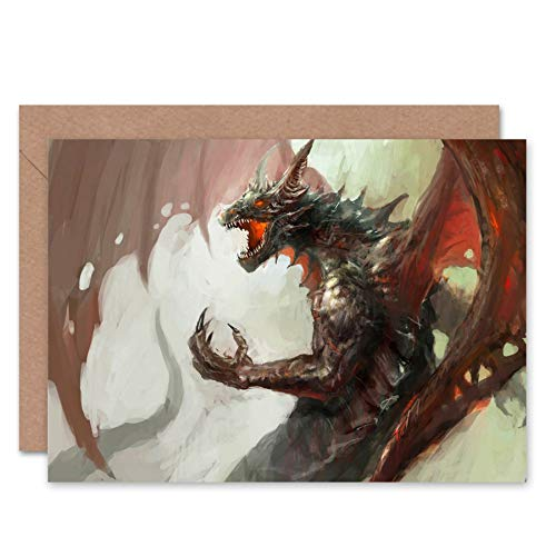 (Wee Blue Coo NEW DRAGON LORD FANTASY BLANK GREETINGS BIRTHDAY CARD ART CL295)