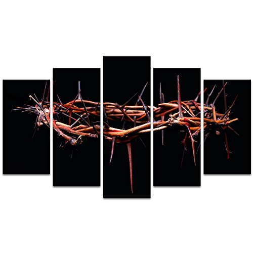 (Visual Art Decor 5 Pieces Christian Religion Canvas Prints Wall Art Picture of Rustic Crown of Thorns Wall Decor Gallery Wrap Ready to Hang (Large Crown of)