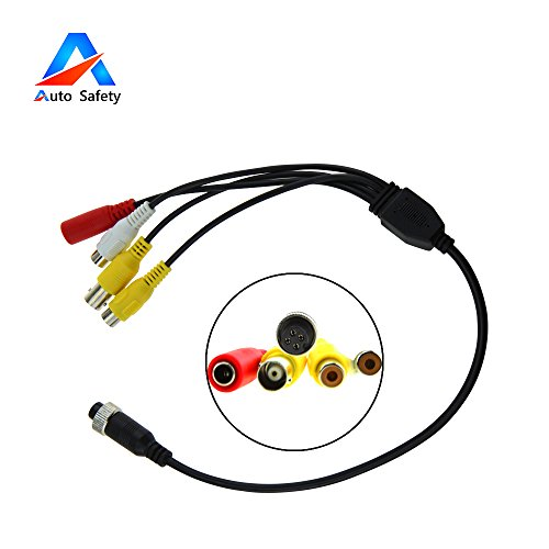 4 Pin to RCA Adapter, Auto Safety Shockproof Waterproof Female 4-Pin to RCA (A/V) Adapter Wire, RCA to 4-PIN Monitor/Camera Adapter