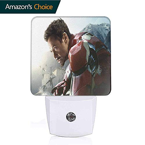 OriginalSun Plug-in Night Light,Dusk-to-Dawn Sensor, Bedroom, Bathroom, Kitchen, Hallway, Stairs, Energy Efficient Iron Man Avengers Age of Ultron