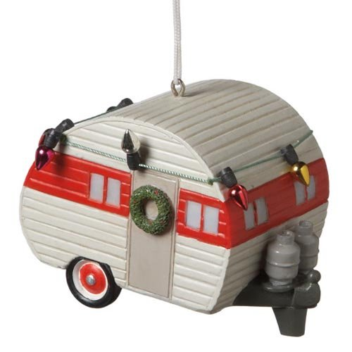 Midwest-CBK Camper Trailer Ornament (White and red) (Camper Ornament Christmas Vintage)