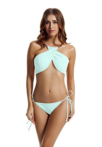 zeraca Women's High Neck Criss Cross Tie Side Bikini Swimsuits (L14, Spring Rain)