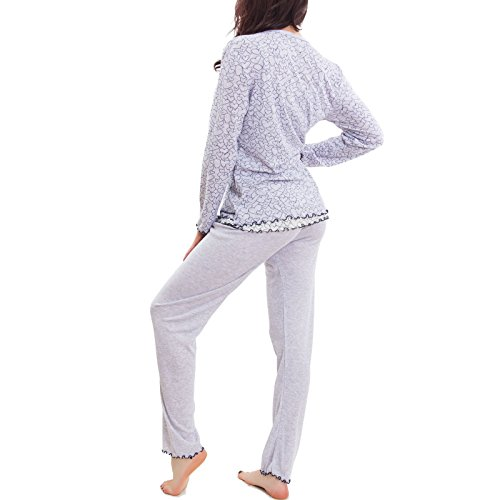 cardigan vestaglia 822 Pigiama nuovo pantaloni Grigio cuori maglia Toocool pezzi tre donna S 0U1wqyTf