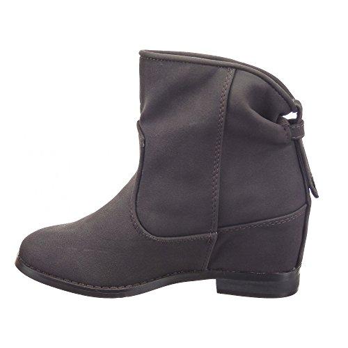 Sopily - Scarpe da Moda Stivaletti - Scarponcini Low boots alla caviglia donna Tacco zeppa 7 CM - soletta tessuto - Grigio