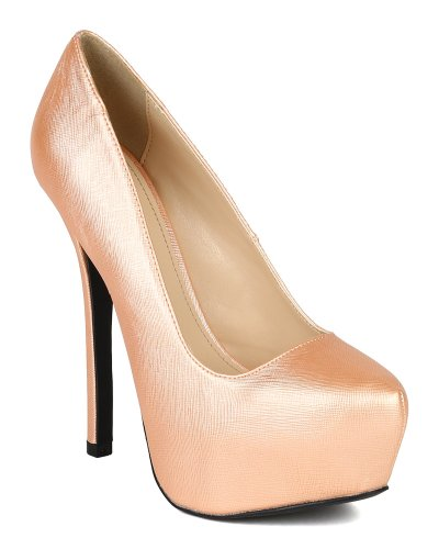 Embossed Platform Pump - Qupid New BK45 Women Embossed Leatherette Almond Toe Platform Stiletto Heel Pump - Nude (Size: 9.0)
