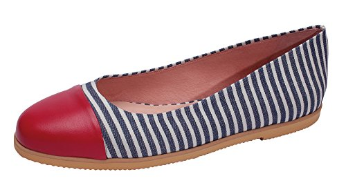 Marion Spath Damen 361-422 Glattleder Maritimer Ballerina rot/blau-weiß