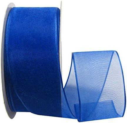 "Bright BLUE WIRE EDGED RIBBON 1-1//2/"" x 5 Yards"