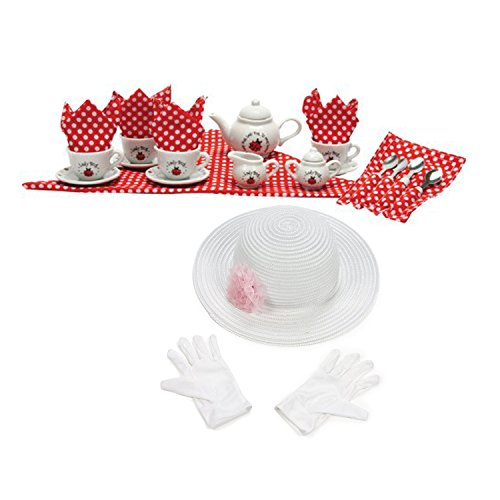 (Schylling Ladybug Porcelain Tea Set with Fun Express Polyester Tea Party Hat and Gloves Set)