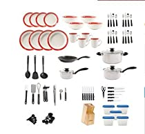 Moving Out Of Home 83 Piece Cookware/Dinnerware Set. Get Started With This Complete Set: Cookware, Dinner Set, Cutlery Pots & Pans. Suitable for Someone Moving Out Of Home For The First Time or Just Wanting An Entire Set At A Discounted Price.