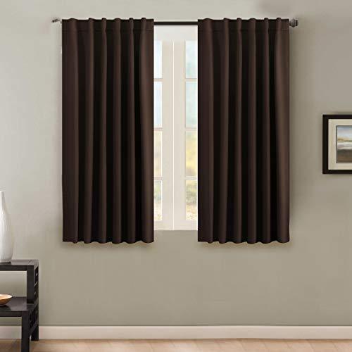 H.VERSAILTEX Room Darkening Thermal Insulating Blackout Curtain Set Noise Reducing Rod Pocket/Back Tab Curtains Chocolate Brown 52