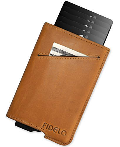 Brown, slim wallet with a card and cash holder.