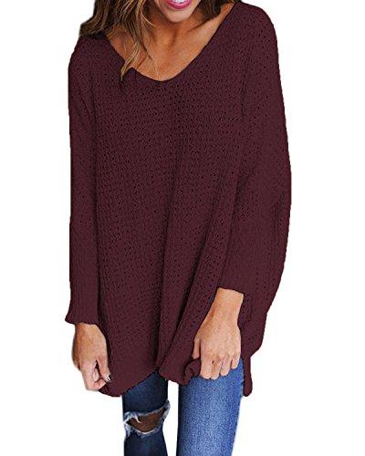 StyleDome Women's Long Sleeve Shirt Blouse V-Neck Pullover Oversized Baggy Crochet Knitted Jumper Wine Red S