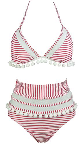 COCOSHIP Flamingo Pink & White Stripe Mesh High Waist Bikini Set Pompom Tassel Trim Top Halter Straps Swimsuit Cruise Swimwear 8