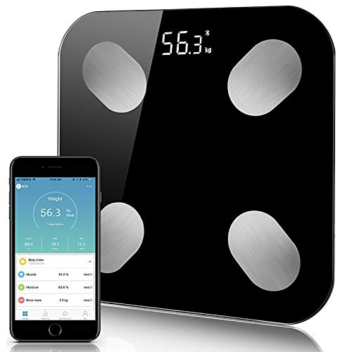 Bluetooth Body Fat Scale, Smart Digital Bathroom Weight Scale Body Composition Analyzer Health Monitor iOS and Android APP for Weight, Fat, BMI, Muscle Mass