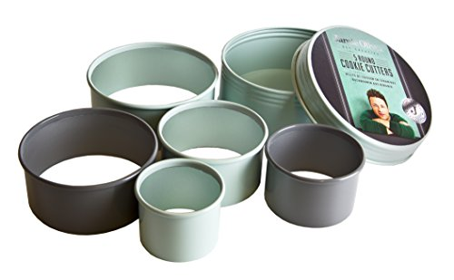 Jamie Oliver Cookie Cutting Set - Nesting Stainless Steel Round Shape Cutters - Includes Storage Container Tin, 5-Piece Round Cookie Cutter Set