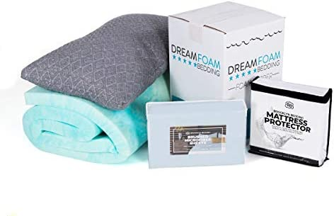 Dreamfoam Bedding Slumber Essentials 4-Piece Bundle Pack- Includes a 2 Gel Swirl Mattress Topper, 1 Mattress Protector, 1 Queen Shredded Foam Pillow and 1 Microfiber Sheet Set, Blue Mist- Twin
