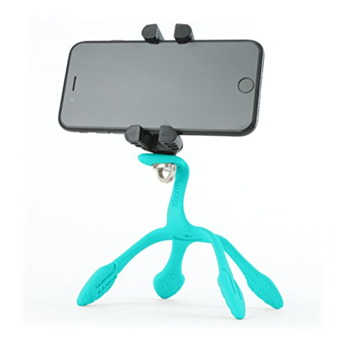 Gekkopod Pro Smartphone Mount Now with Selfie Remote - Portable and Flexible Smartphone Stand and Tripod Compatible with GoPro, Compatible for All Cellphones (Light Blue)
