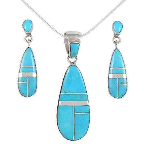 (Matching Turquoise & Gemstones Set 925 Sterling Silver (Pendant, Earrings, Necklace 20