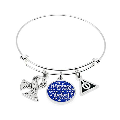 - Ms. Clover Encouragement Gift, Happiness Can Be Found Even in The Darkest of Times, If One Only Remembers to Turn On The Light Inspirational Bracelet. Message Cuff. (Bangle)