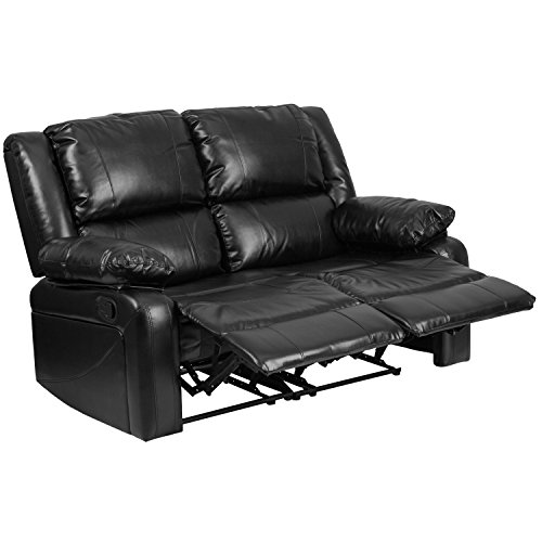 (Flash Furniture Harmony Series Black Leather Loveseat with Two Built-In Recliners )