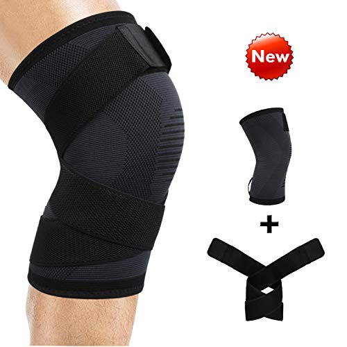 Compression Knee Brace Support with Adjustable & Detachable Strap for Sports Squats Weightlifting, Breathable Elastic Recovery Knee Protector Pads for Arthritis ACL Pain Relief for Men & Women, Single ()