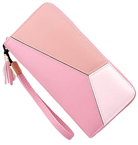 Blansdi Women Leather Wallet Long Purse Card Phone Holder Hit Color Wristlet Clutch
