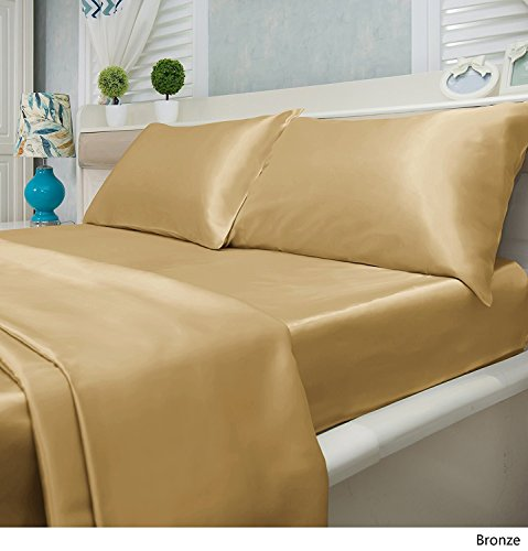 Luxury Solid Color 4-Piece Satin Bed Sheets Set - Silky Smooth, Super Soft, Wrinkle Resistant Sheets and Pillowcases (Full, Bronze) (Bronze Bedding Ensemble)